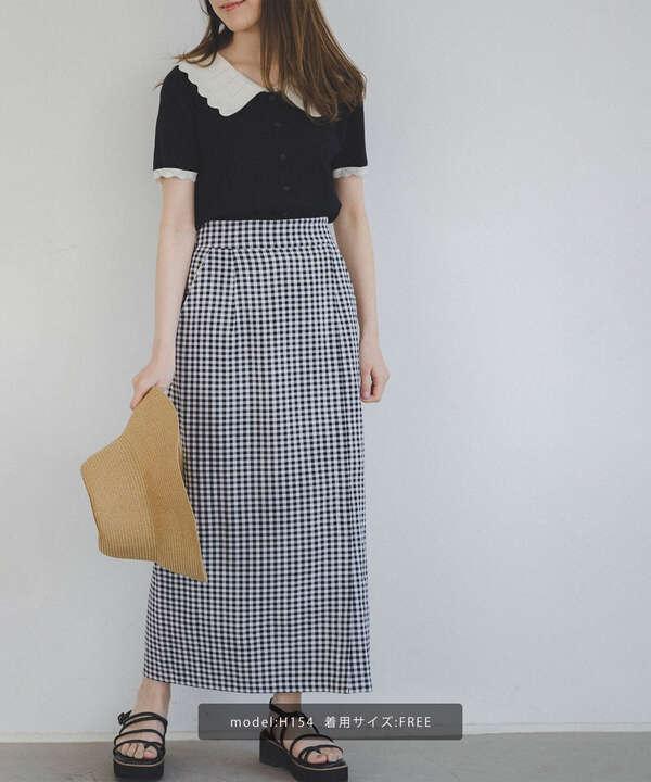 【追加生産予約6月中旬-下旬入荷予定】ギンガムチェックタイトスカート