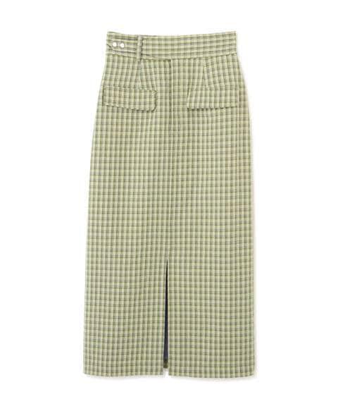 《Sシリーズ対応商品》フラップポケットチェックナロースカート