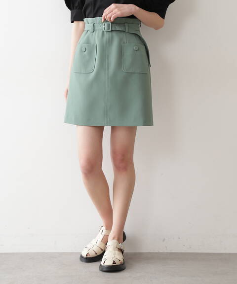 《Sシリーズ対応商品》フロントポケットハイウエストミニスカート