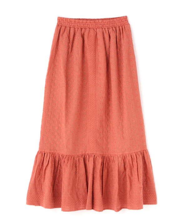 ストライプドビー刺繍ウエストシャーリングマーメイドスカート