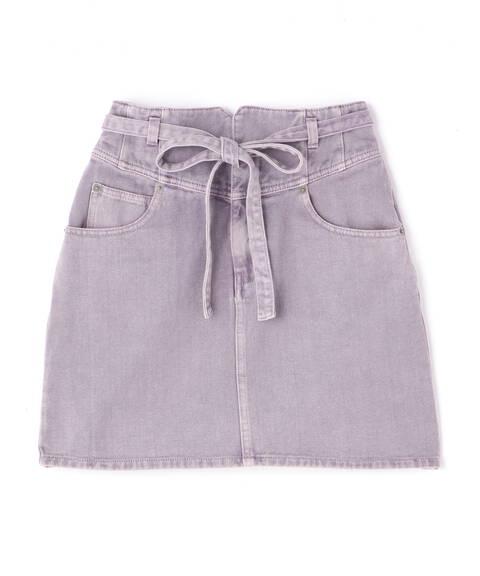 《Sシリーズ対応商品》ハイウエストリボン付きデニムスカート