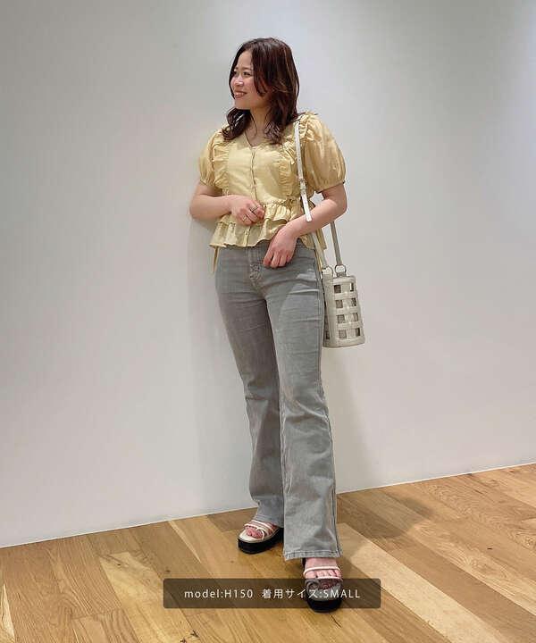 《Sシリーズ対応商品》内スリットベルボトムデニムパンツ