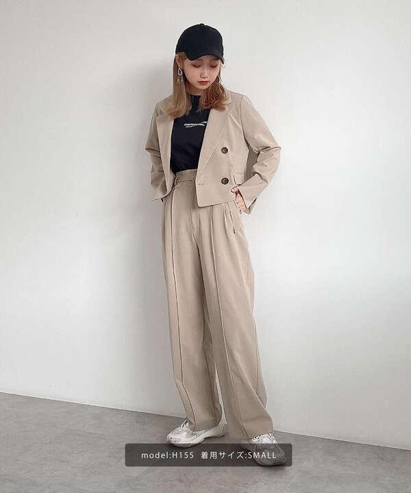 《Sシリーズ対応商品》麻調合繊ベルト付き2タックワイドパンツ