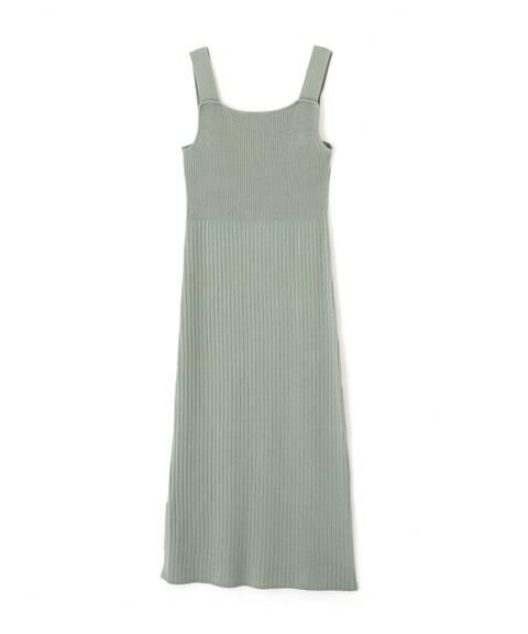 異ピッチリブ裾フリルニットワンピース