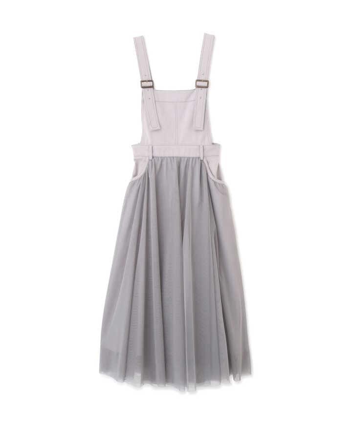 チュール切替サロペットスカート