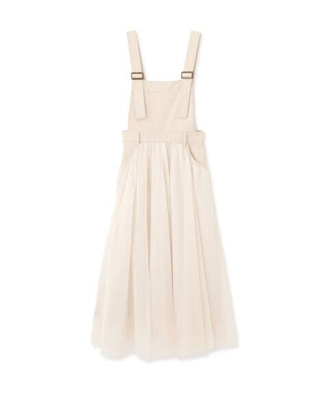 【追加生産予約4月下旬-5月上旬入荷予定】チュール切替サロペットスカート