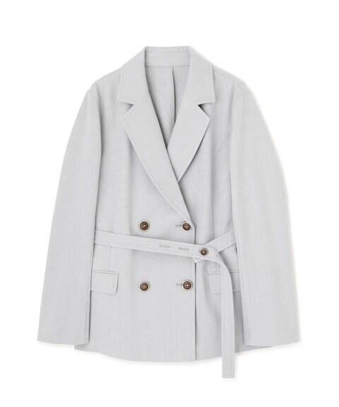《Sシリーズ対応商品》麻調ベルト付きダブルブレストジャケット