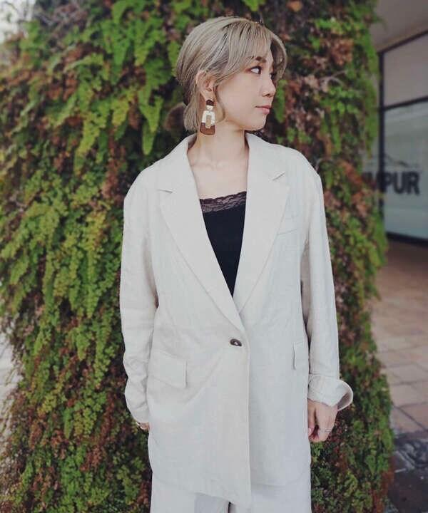 《Sシリーズ対応商品》麻混ルーズシングルジャケット