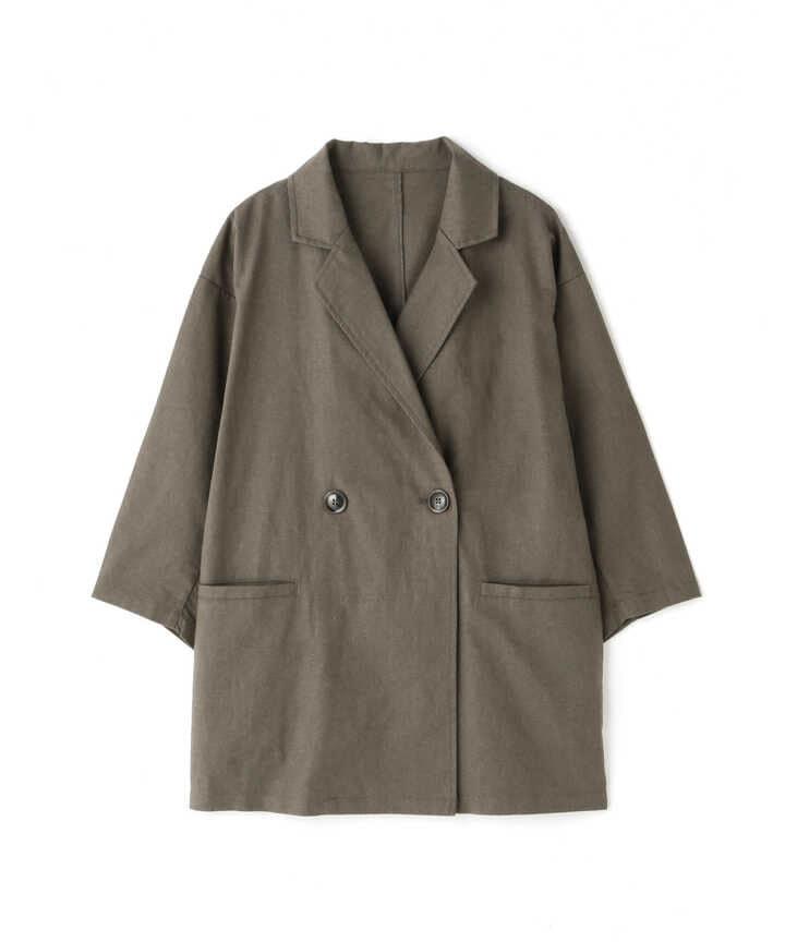 麻調合繊七分袖ジャケット