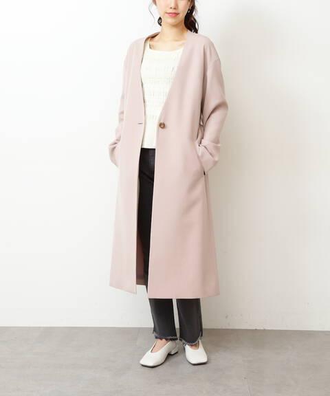 Vネックノーカラーコート