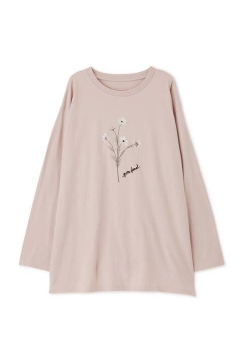 【先行予約2月上旬-中旬入荷予定】サイドスリットボタニカル柄プリントTシャツ