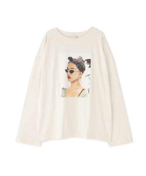 デコレーションモデルプリント長袖Tシャツ