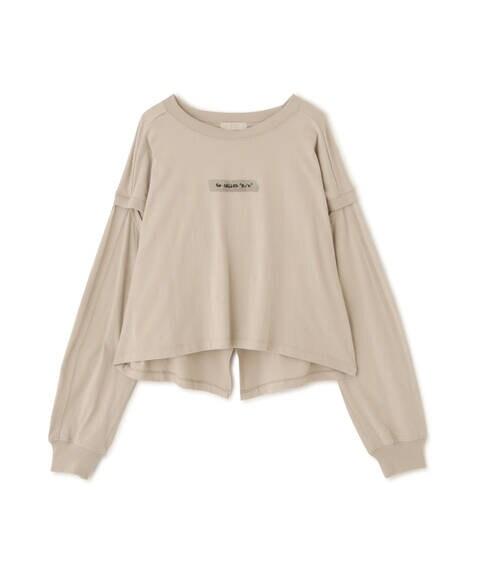 肩スリットロゴ刺繍Tシャツ
