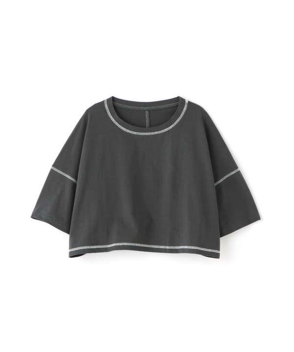 短丈配色ステッチTシャツ
