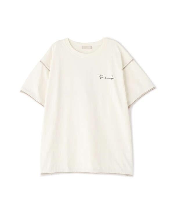 配色カットオフフォトプリントTシャツ