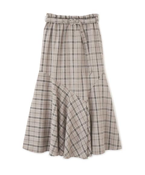 《Sシリーズ対応商品》ベルト付きチェックペプラムフレアスカート