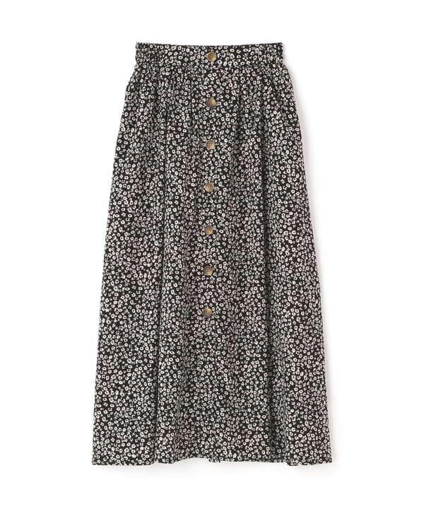 フロントボタンフラワープリントスカート