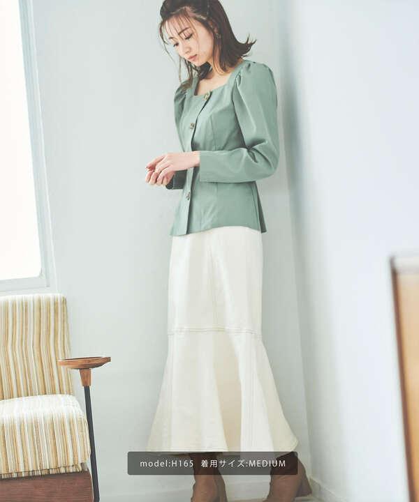 《Sシリーズ対応商品》パネル切替マーメイドデニムスカート