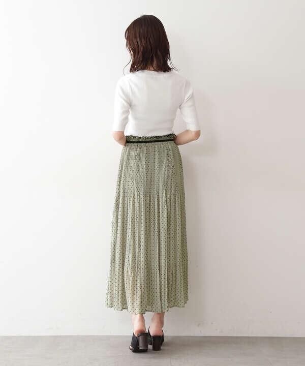 《Sシリーズ対応商品》カットドビードットランダムプリーツスカート