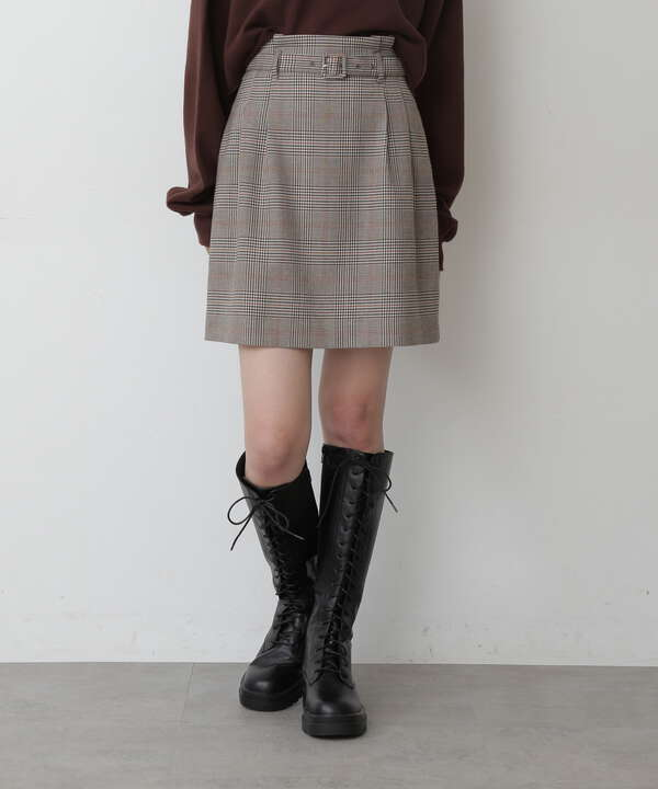 《Sシリーズ対応商品》チェックベルト付ミニスカート