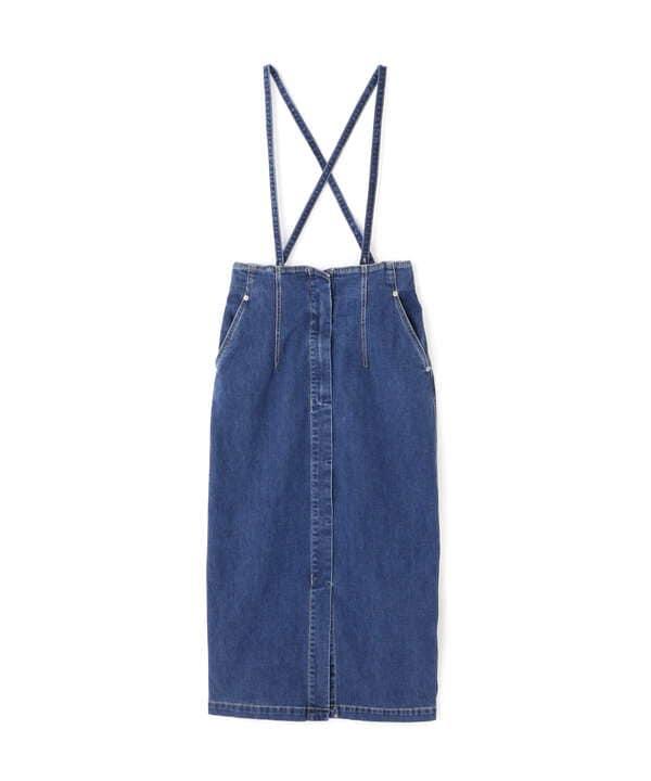 サス付きハイウエストペンシルデニムスカート