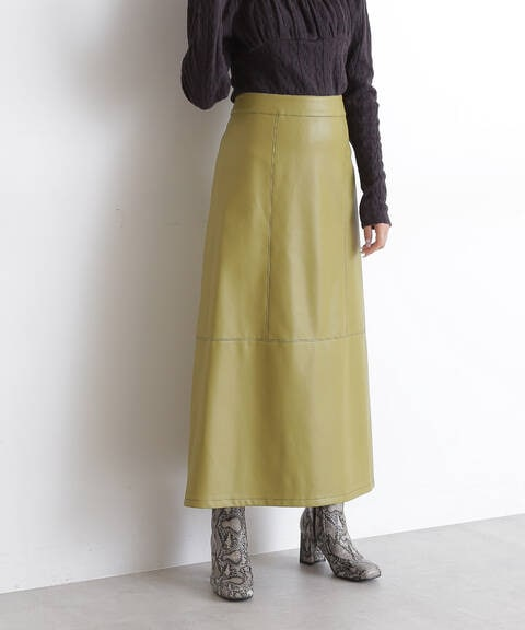 配色ステッチフェイクレザーAラインスカート