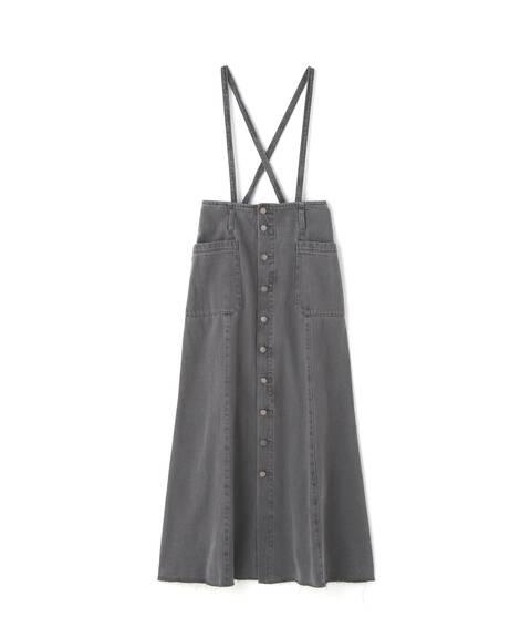 《Sシリーズ対応商品》サスペンダー付パネル切替ナローデニムスカート