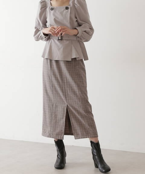 《Sシリーズ対応商品》ハイウエストチェックロングスカート