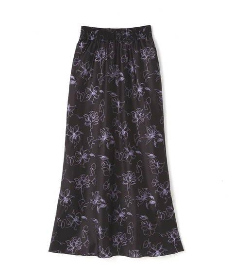 《Sシリーズ対応商品》アートフラワ-柄ナローマキシスカート