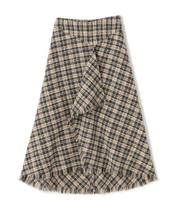 《Sシリーズ対応商品》ツィードチェックアシメヘムスカート