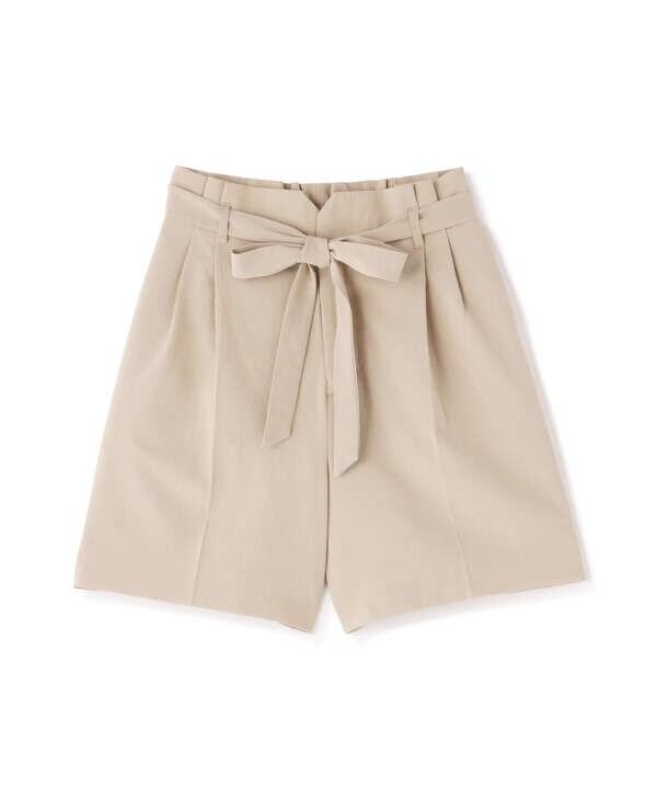 《Sシリーズ対応商品》麻調合繊リボンベルト付きショートパンツ