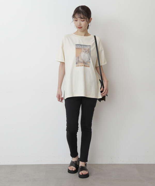 ネコプリントロゴ刺繍ビッグTシャツ