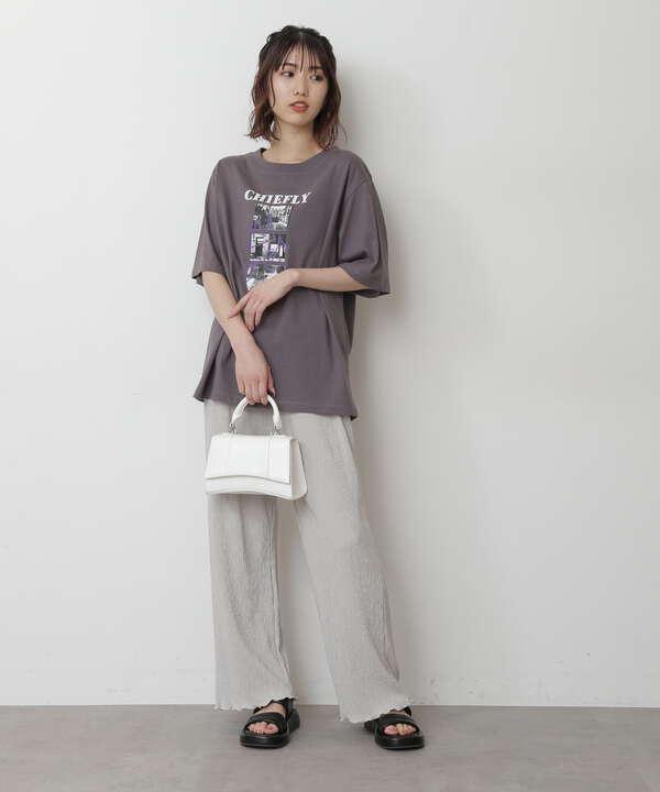 モノトーンフォトグラフィティプリントTシャツ