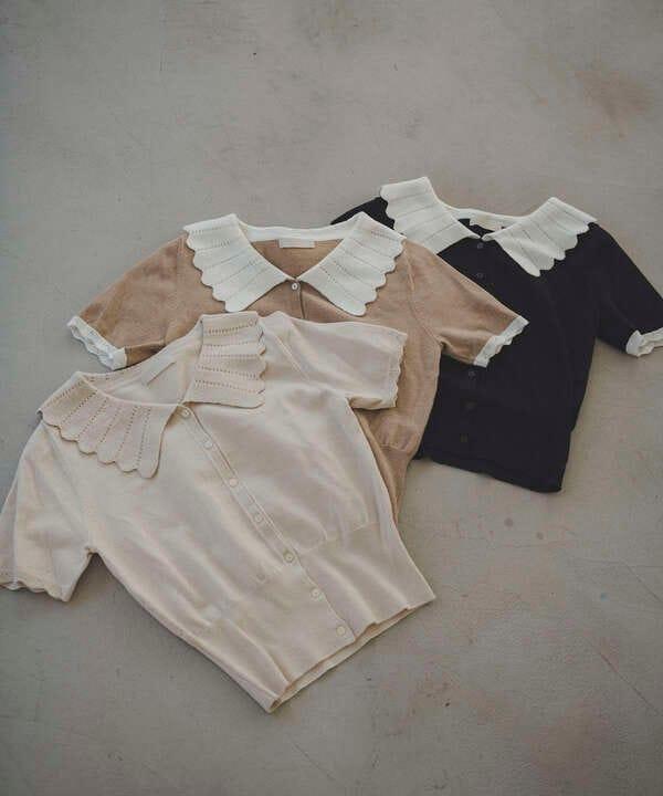 襟付き半袖コンパクトニット