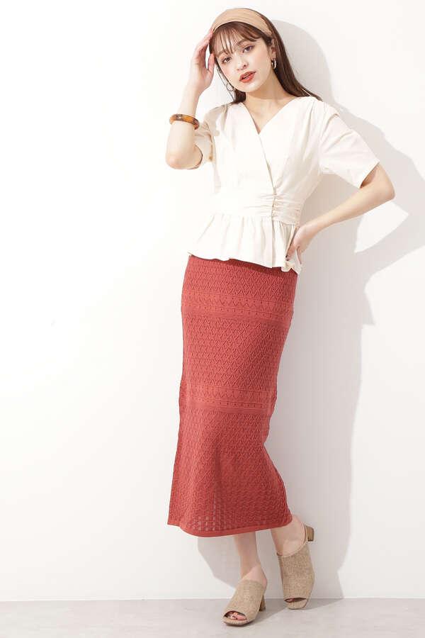 レース柄ニットスカート