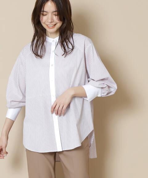 【追加生産予約4月下旬入荷予定】【佐藤栞里さん着用】バックペプラムバンドカラーシャツ
