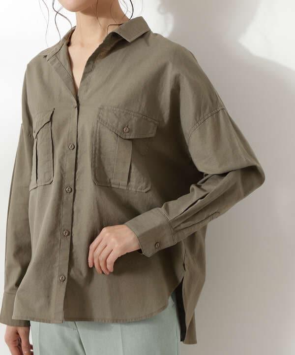 麻混ビッグポケットシャツ