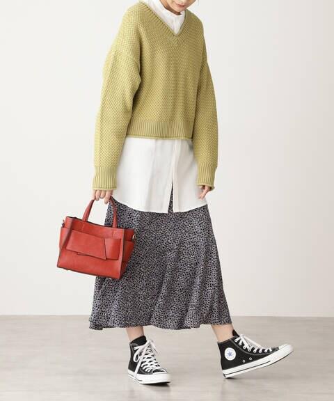 【追加生産予約2月下旬入荷予定】レオパードペプラムロングスカート