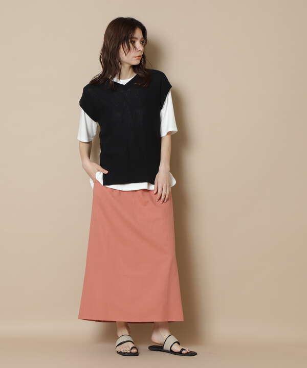 バックレースアップ麻混スカート《S Size Line》