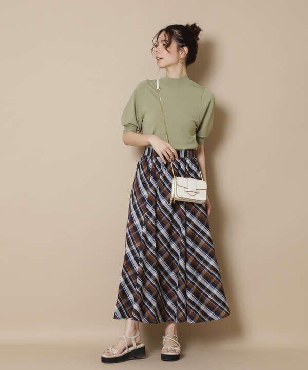 チェックボリュームスカート