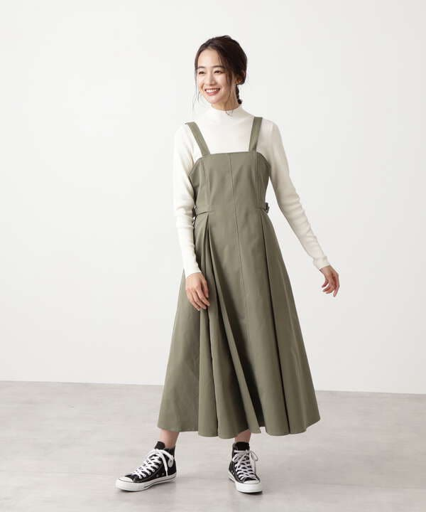 サイドウエストベルトジャンパースカート