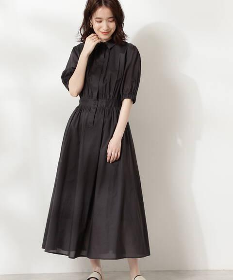 コットンローンシャツ衿ワンピース