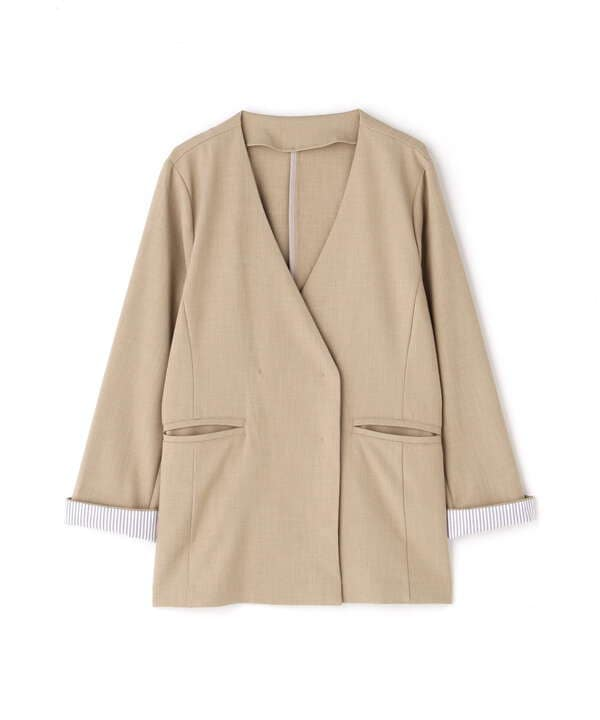ノーカラーVジャケット