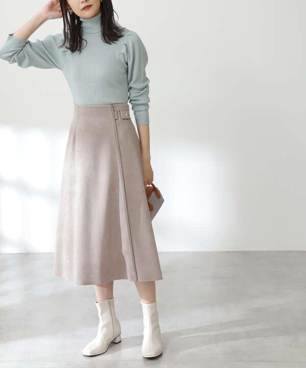 フェイクスウェードフレアスカート《S Size Line》