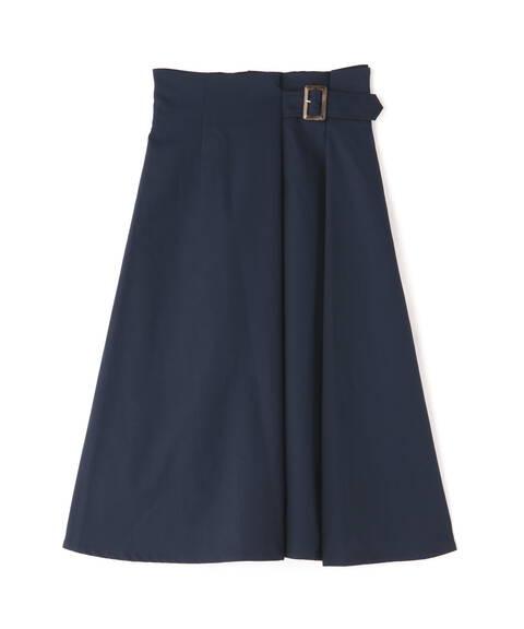 【先行予約7月中旬-7月下旬入荷予定】バックル付セミフレアスカート