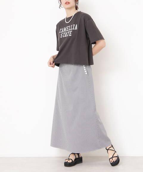 サイドボタンAラインスカート