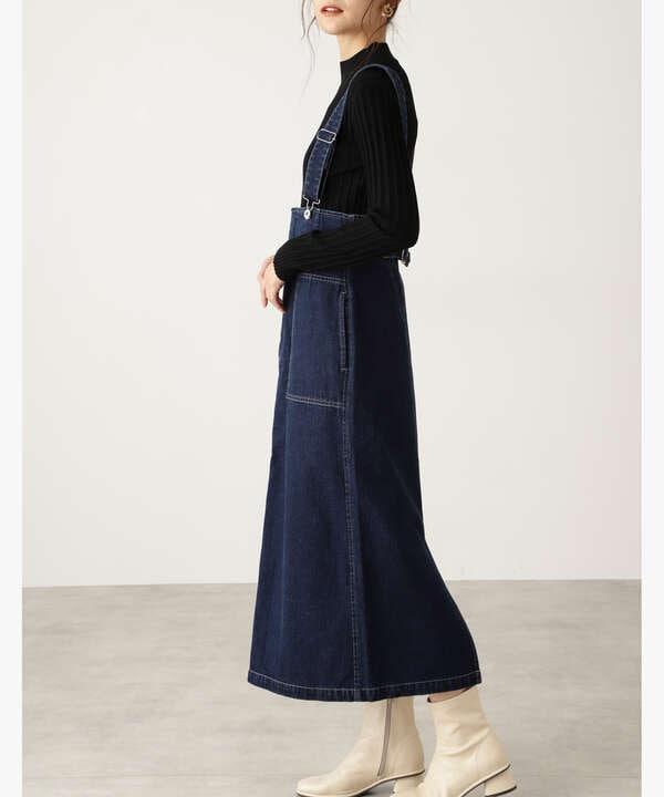 ハイウエストデニムジャンパースカート