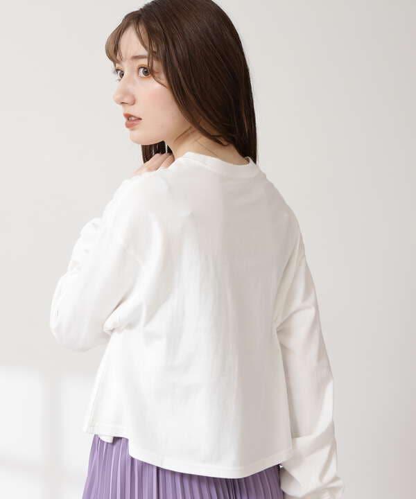 ショート丈プリントロングTシャツ