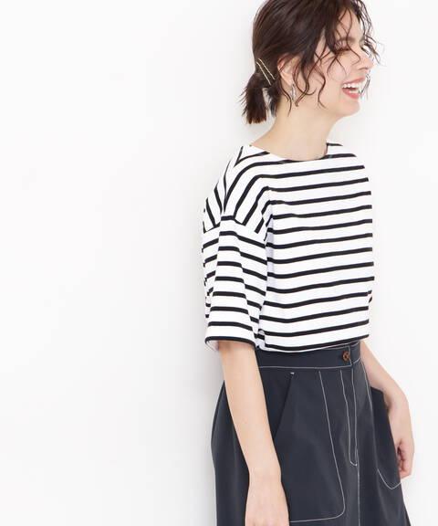 スリットボーダーTシャツ
