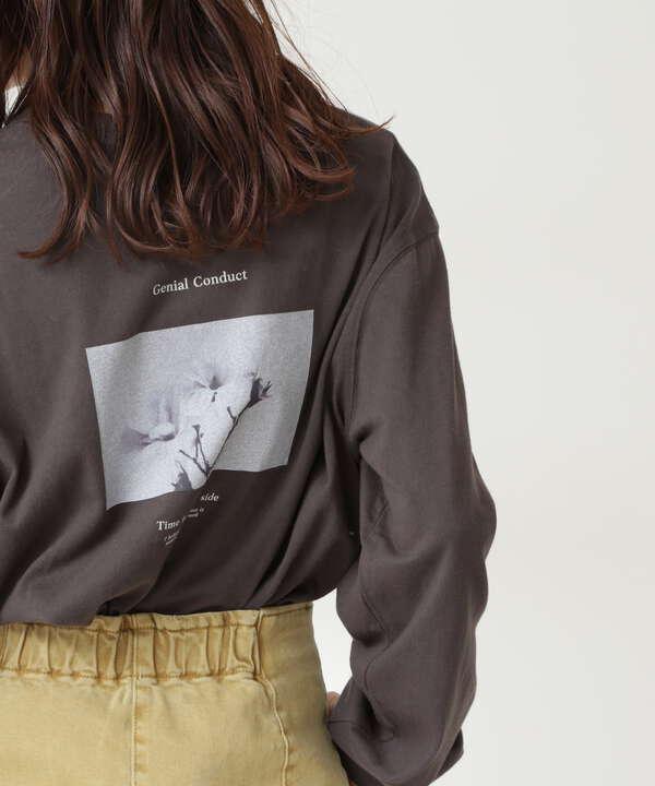 ロゴプリントモノクロロングTシャツ